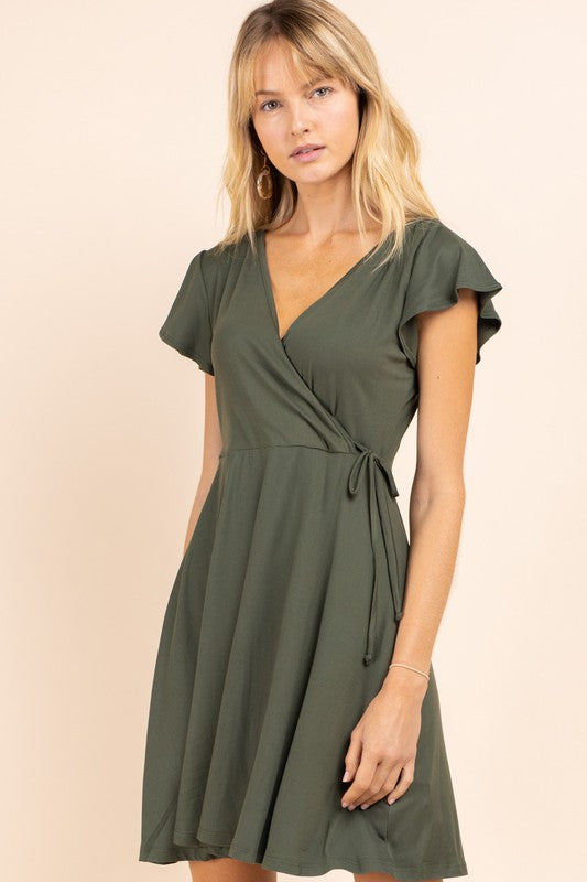 SIMPLE AS CAN BE OLIVE DRESS