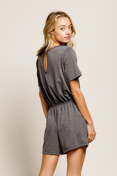 ON THE RUN ROMPER - CHARCOAL