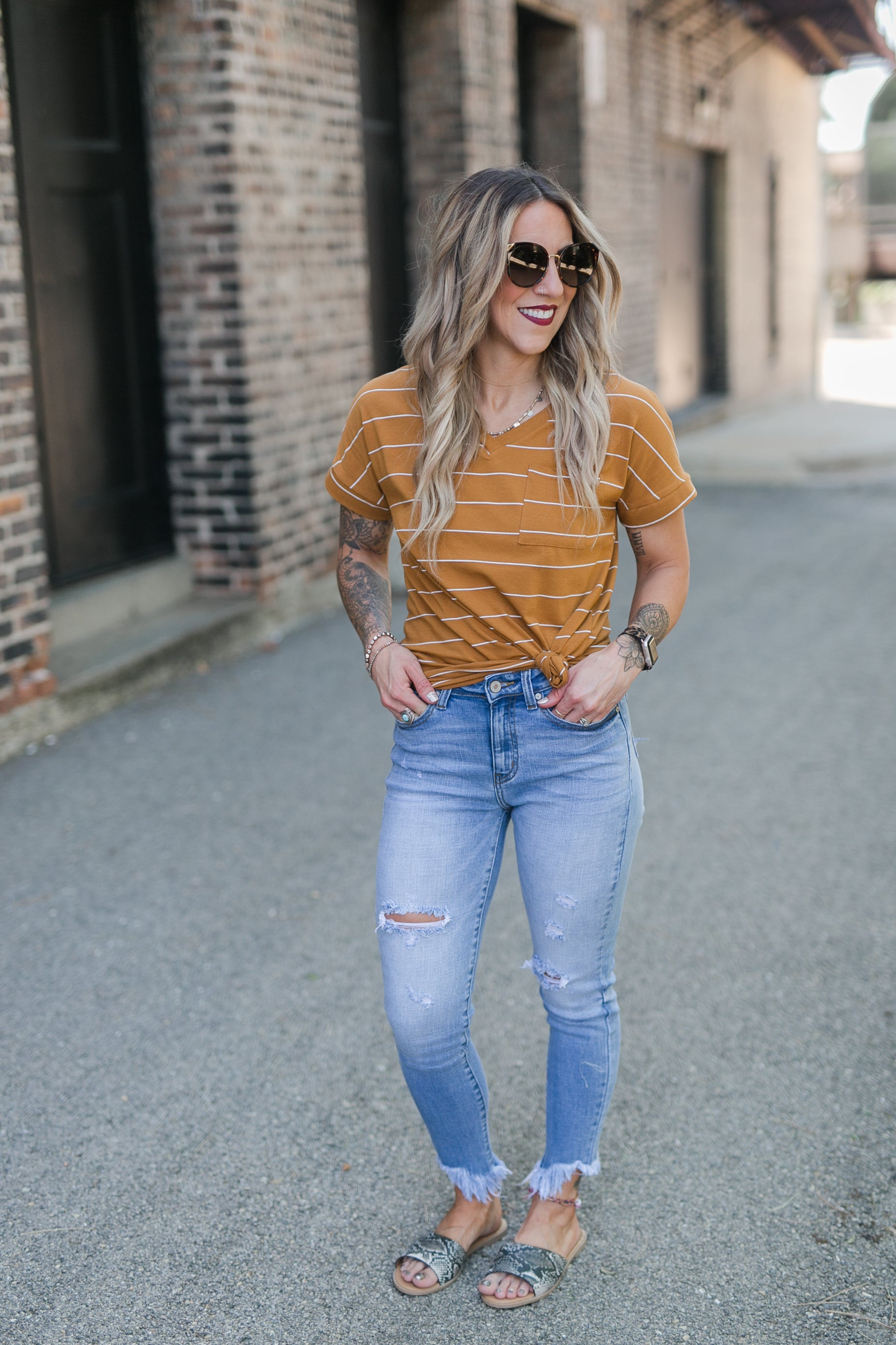 ON THE HORIZON STRIPE TEE - MUSTARD