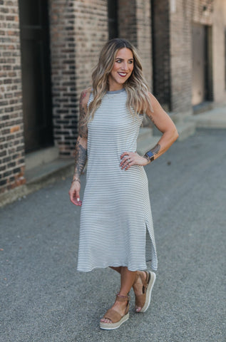 CAN'T LIVE WITHOUT ME STRIPE DRESS