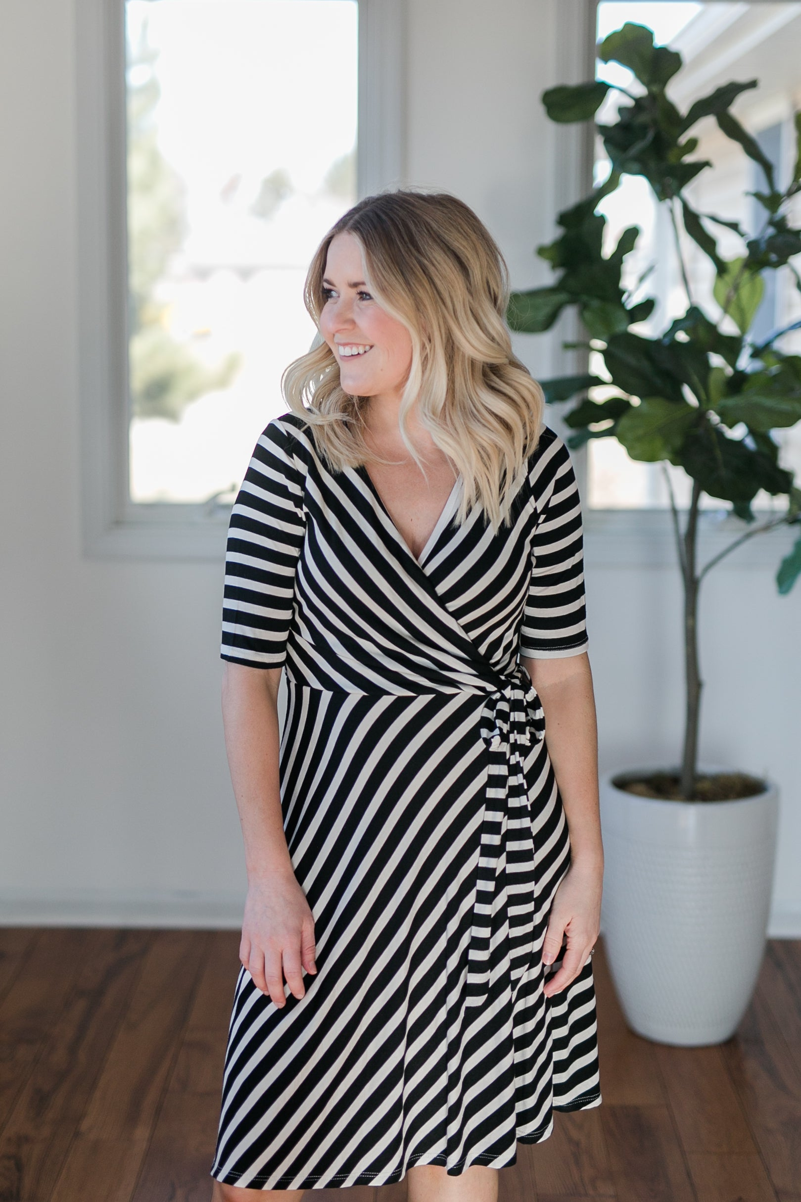AVENUE STRIPED MIDI DRESS