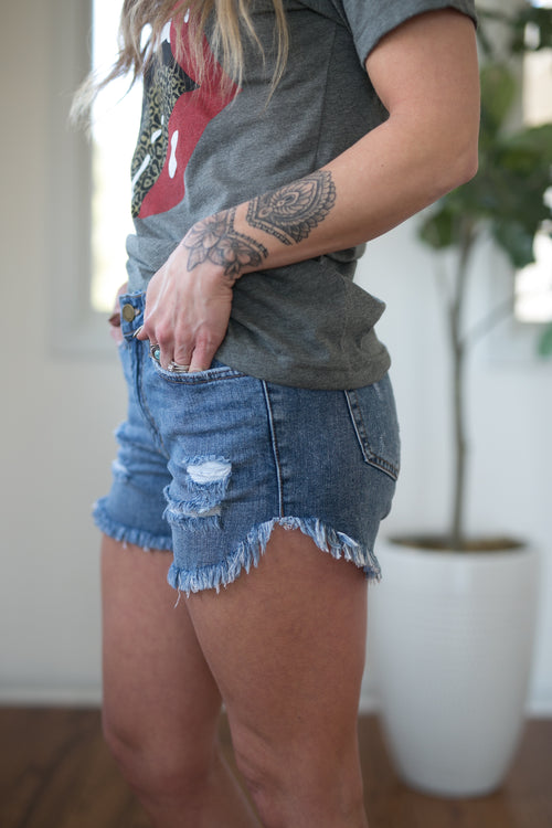 GO ANYWHERE MED WASH DENIM SHORTS