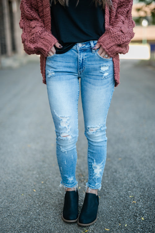 MASON DISTRESSED LIGHT WASH DENIM