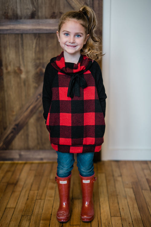 KIDS BUFFALO PLAID COWL NECK SWEATER