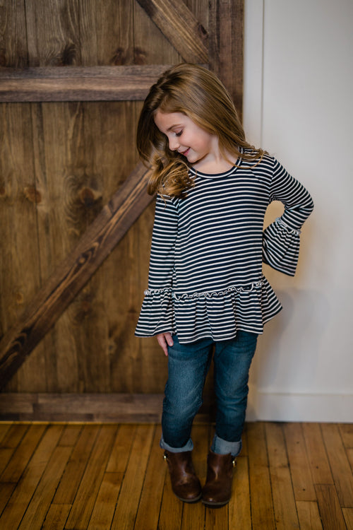 KIDS RUFFLE STRIPE TOP - NAVY