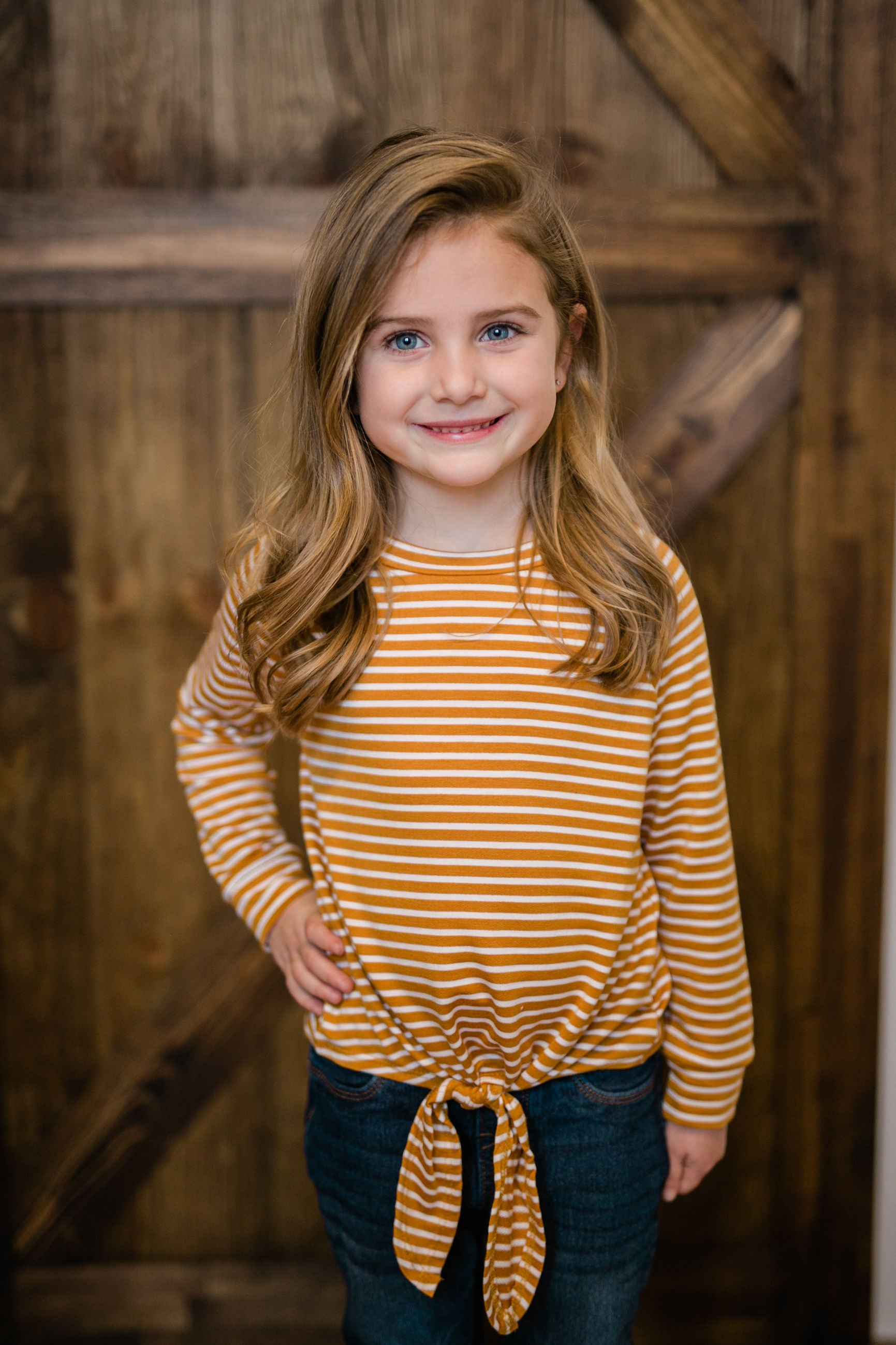 KIDS STRIPED TUNIC TOP - MUSTARD