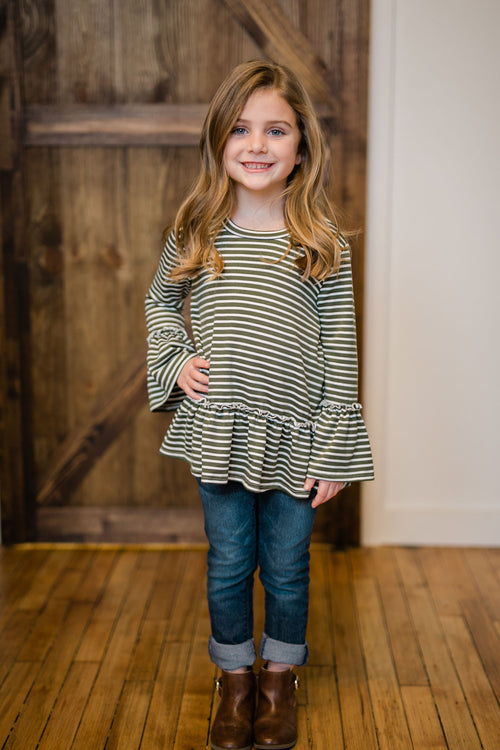 KIDS RUFFLE STRIPE TOP - OLIVE