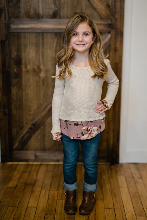 KIDS WAFFLE THERMAL WITH ELBOW PATCHES
