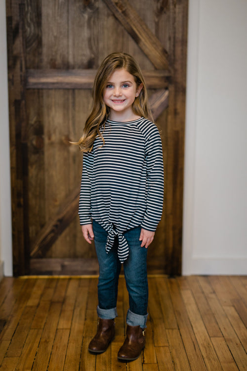 KIDS STRIPED TUNIC TOP - NAVY