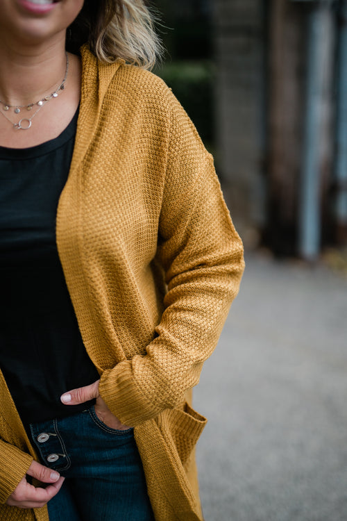 CHILL BY CHOICE MUSTARD CARDIGAN