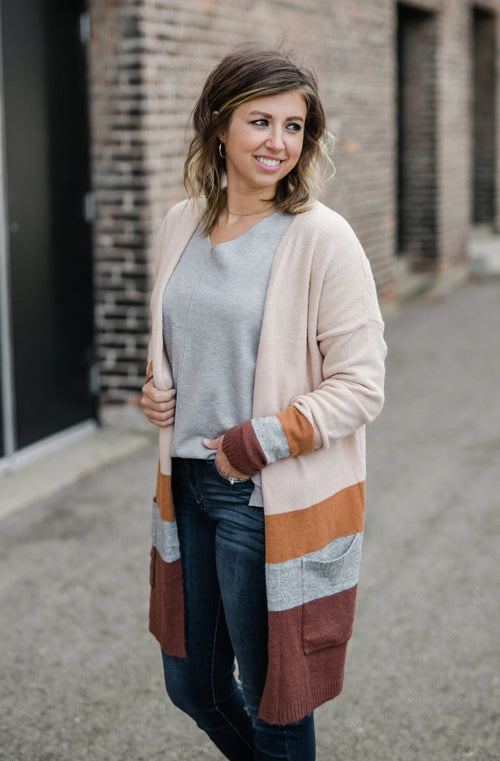 FALL TO ME COLORBLOCK CARDIGAN