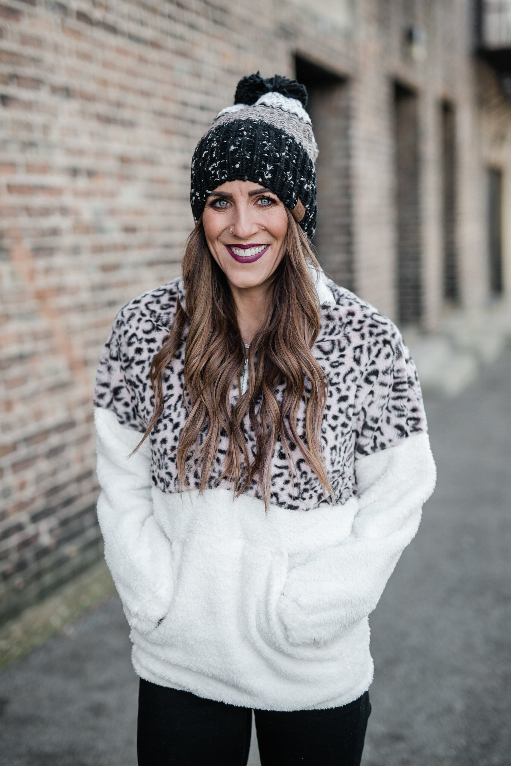 LEOPARD COZY FAUX FUR SWEATER