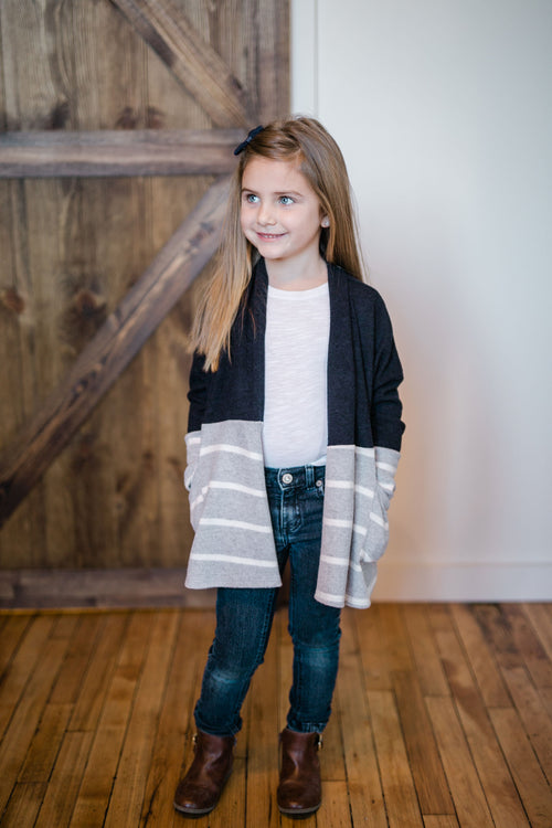 KIDS COLORBLOCK NAVY CARDIGAN