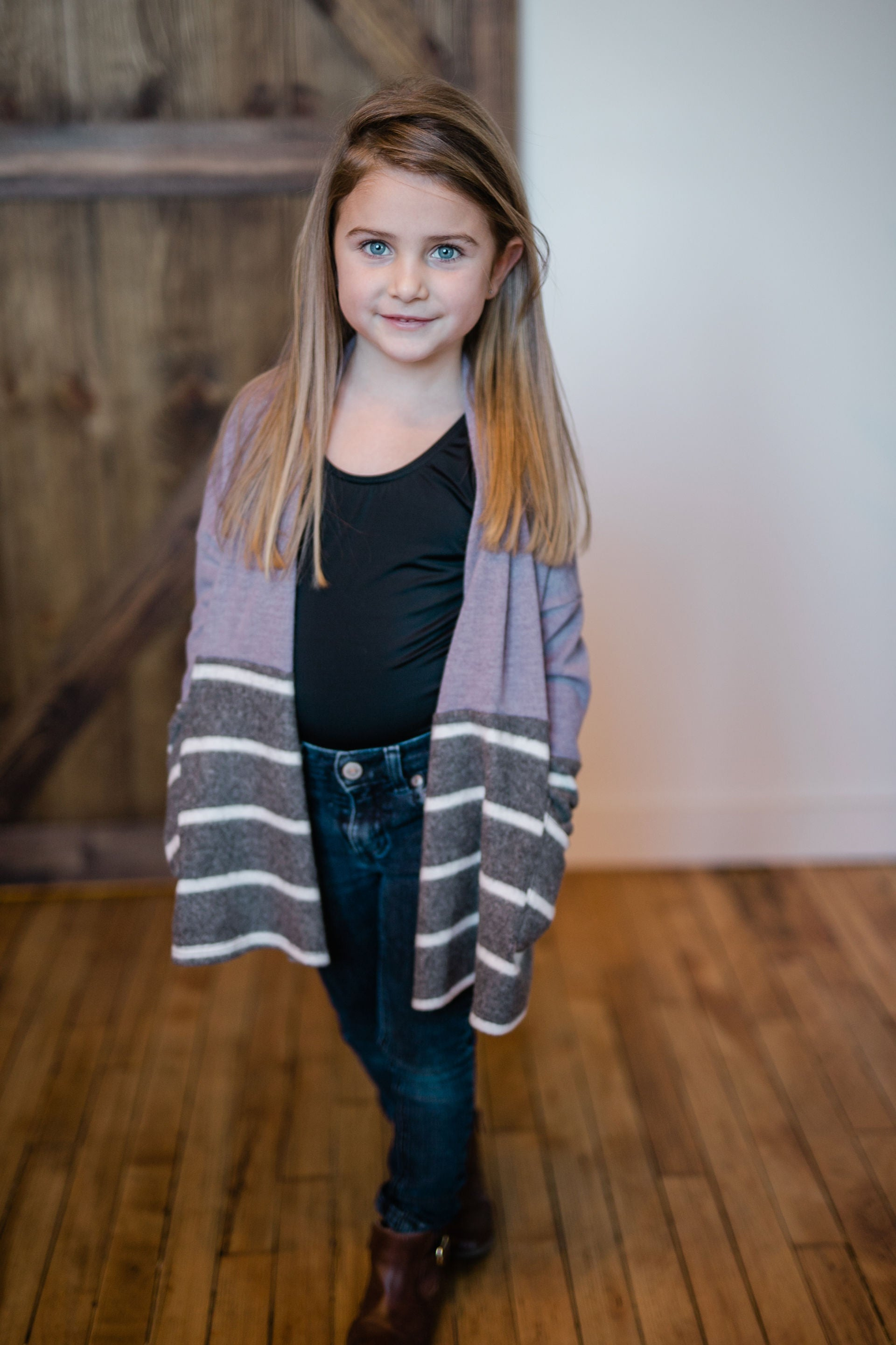 KIDS COLORBLOCK LAVENDER CARDIGAN