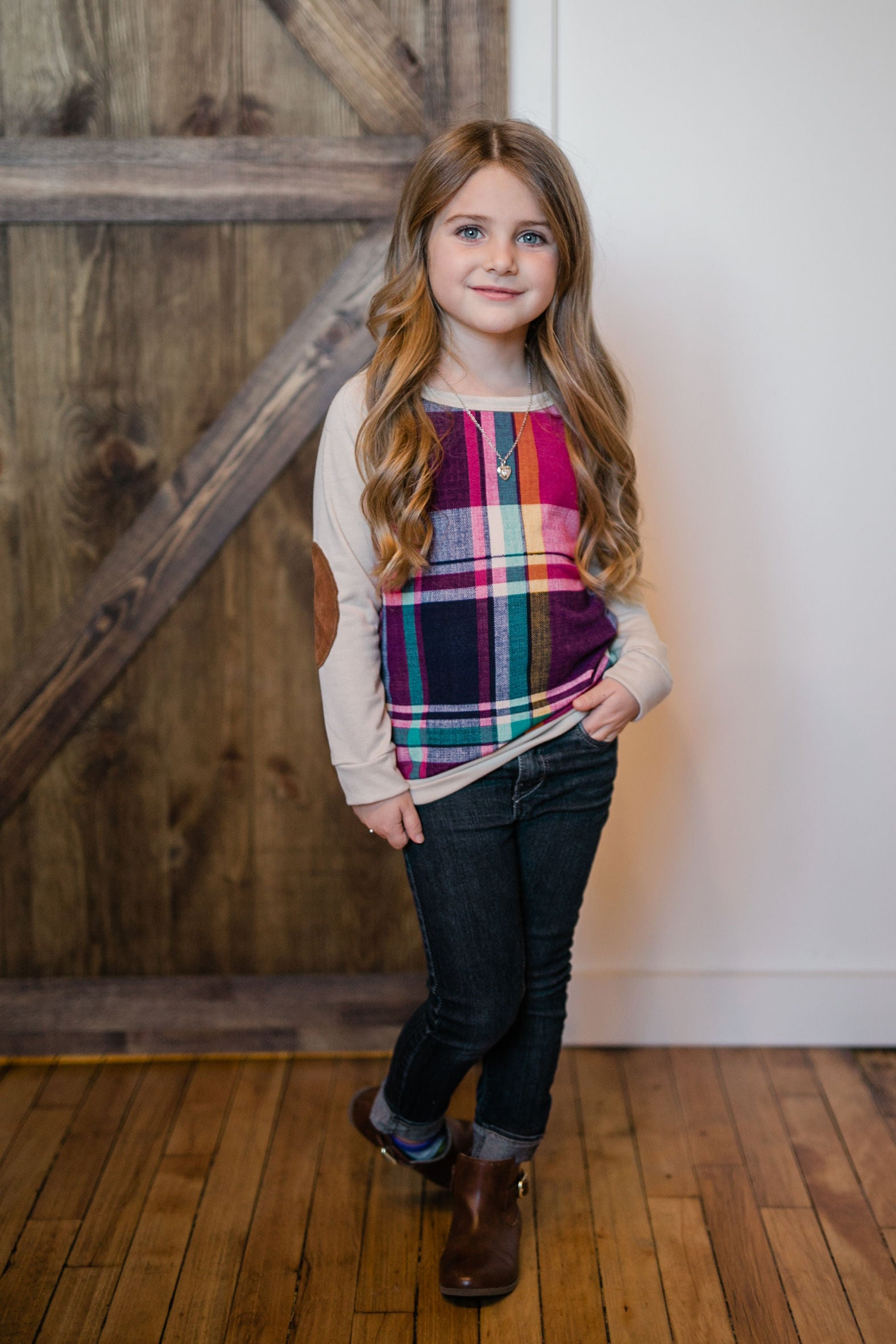 KIDS PLAID PULLOVER WITH SUEDE ELBOW PATCH