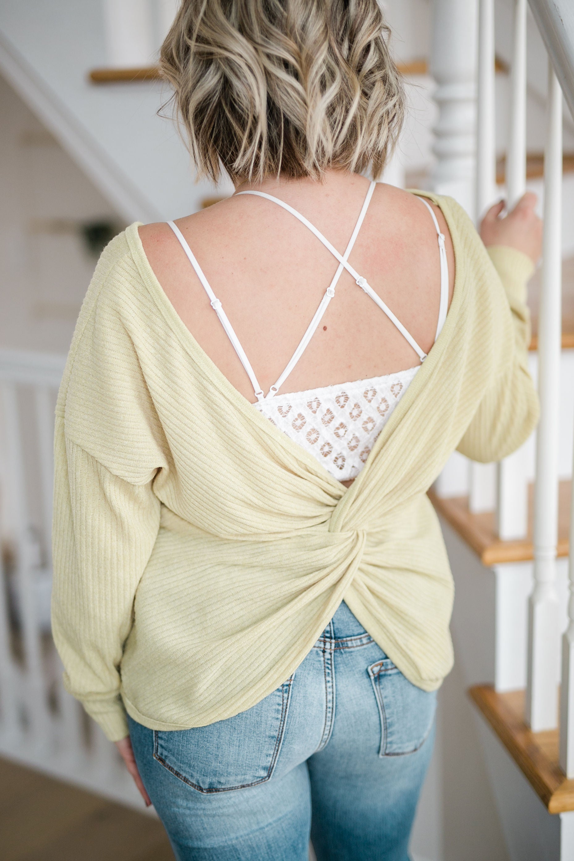 NEVER LOOK BACK MUSTARD OPEN BACK TOP