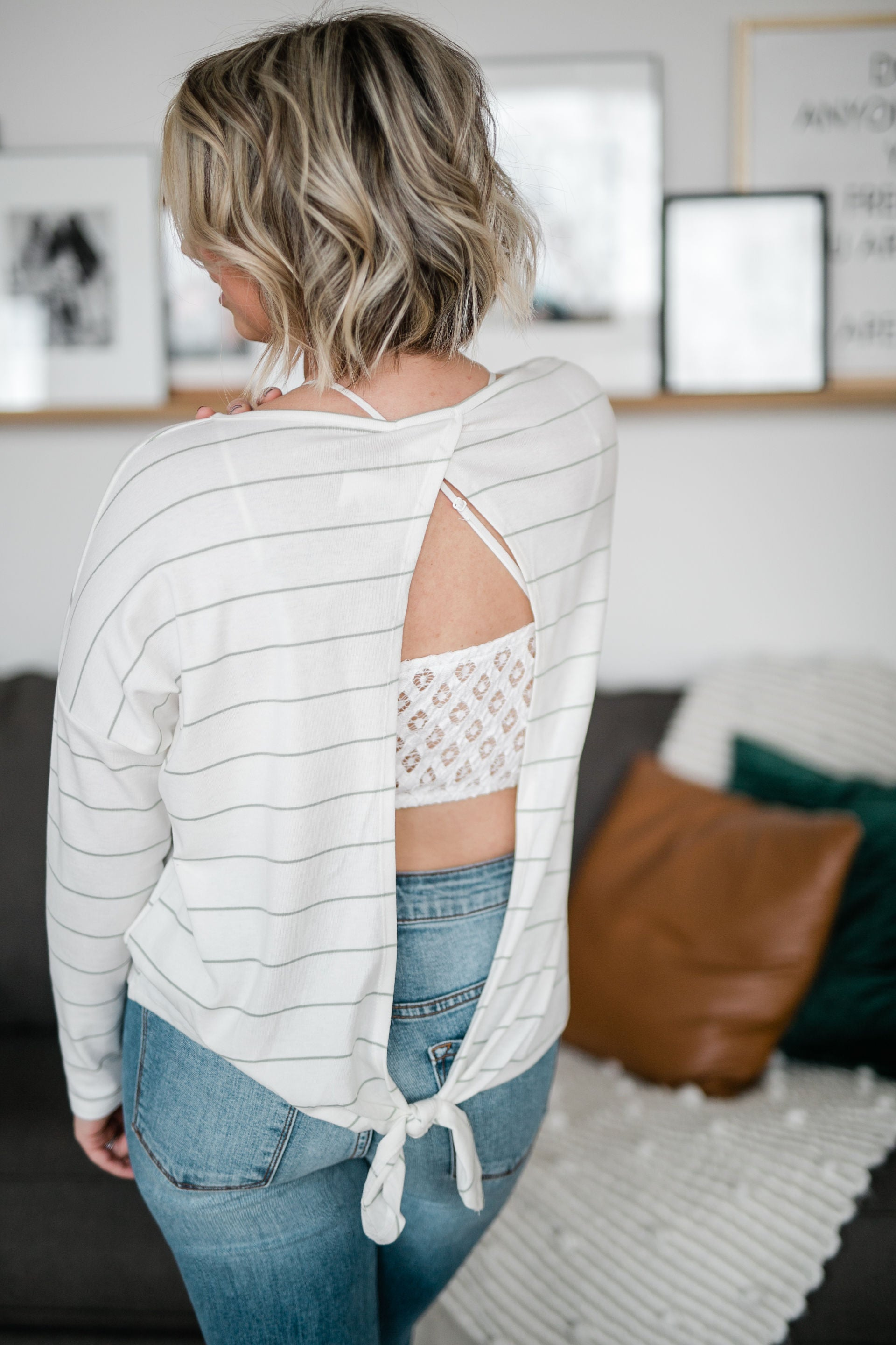 WILLOW STRIPED OPEN BACK TOP