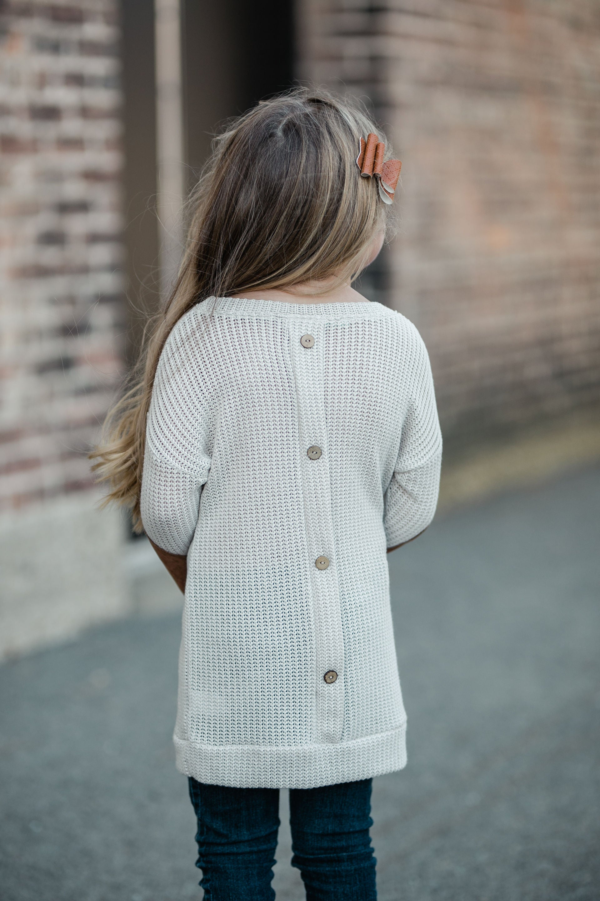 KIDS KNIT BUTTON BACK SWEATER - TAUPE
