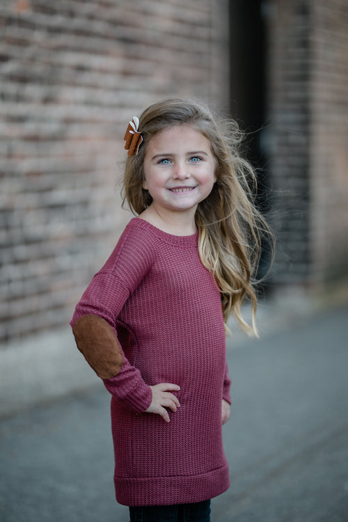 KIDS KNIT BUTTON BACK SWEATER - RUBY
