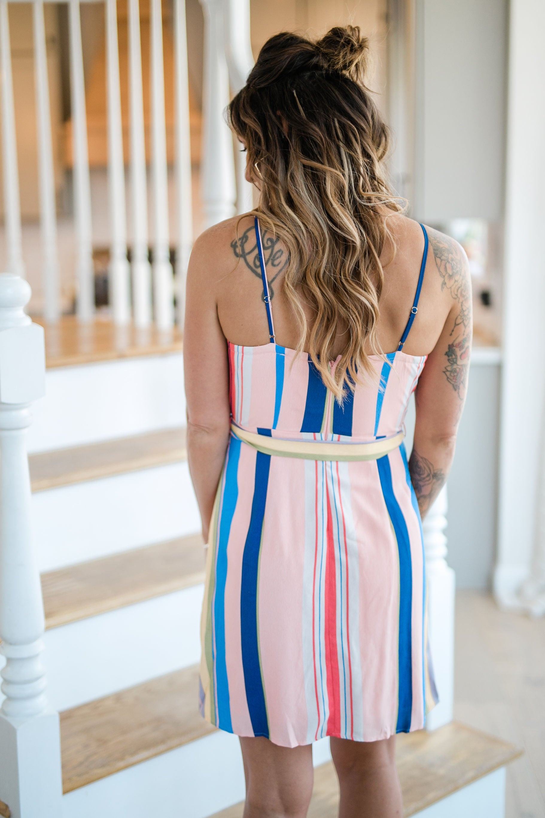 PARTY FOR TWO BLUSH STRIPED DRESS