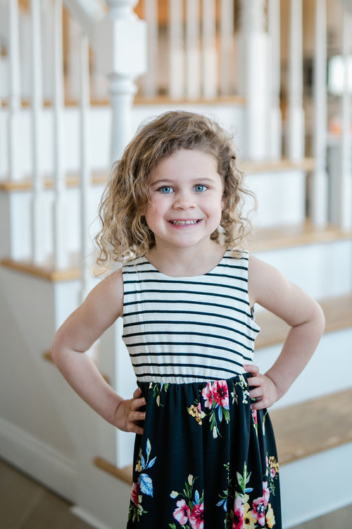 TODDLER STRIPE CONTRAST TOP WITH FLORAL PRINT SLEEVELESS
