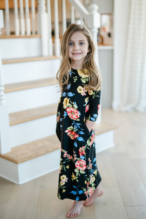 TODDLER 3/4 SLEEVE FLORAL MAXI BLACK