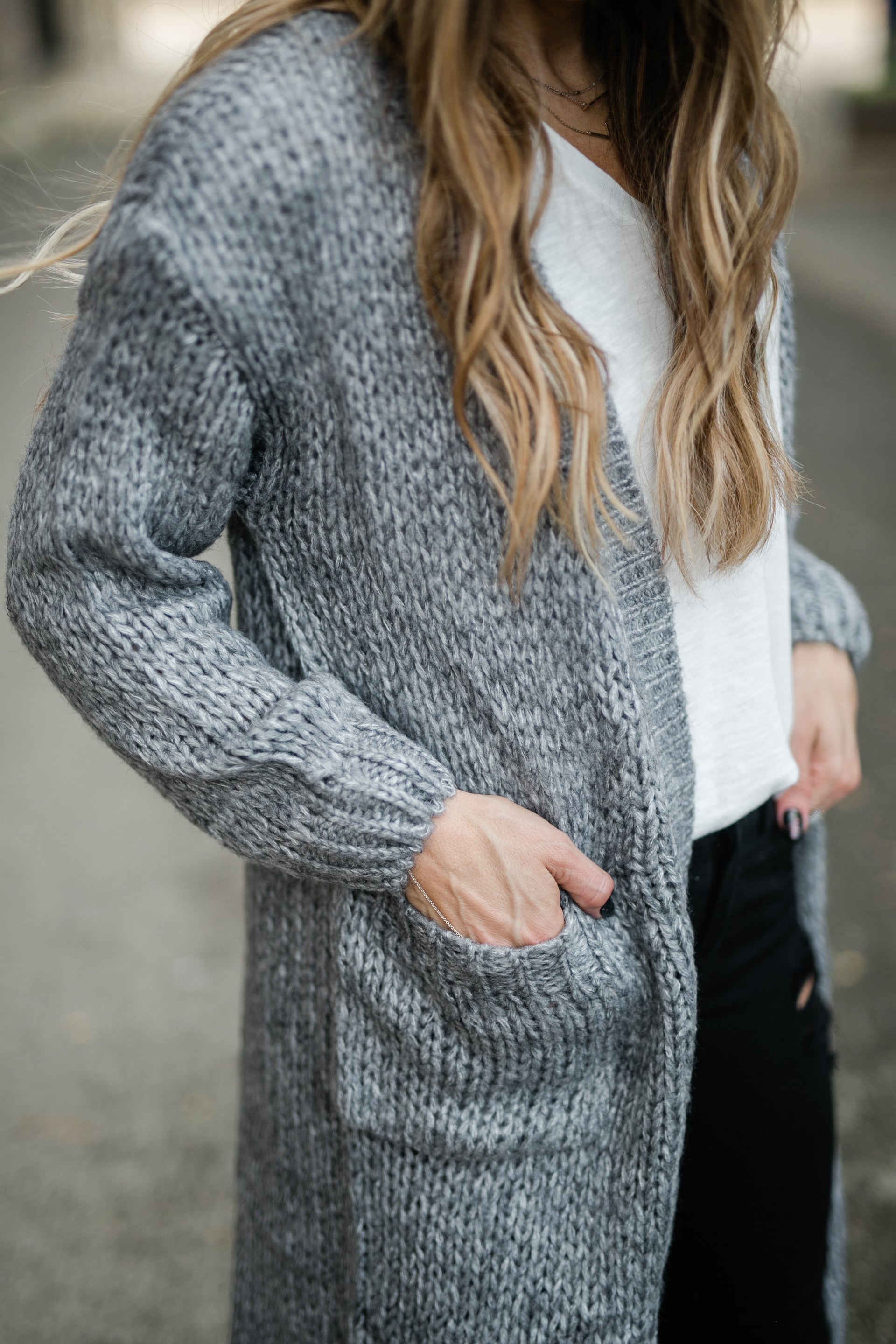 FOR THE CHILLS CHARCOAL CARDIGAN