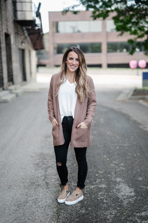 COZY GOALS CARDIGAN- MOCHA