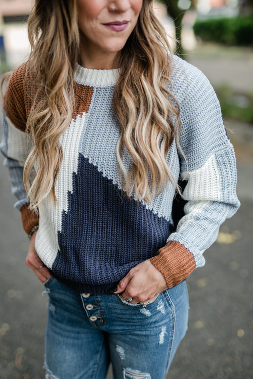 CALL THE GIRLS COLOR BLOCK SWEATER