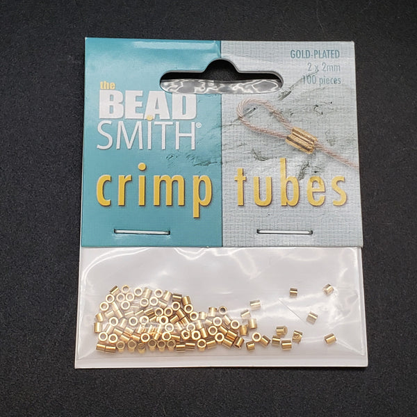 Crimp Beads, Gold Plate, Beadsmith - 2x2mm 100pk