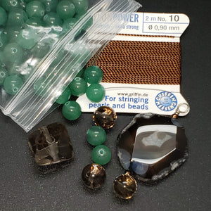Mala Bead Kit: Green Aventurine and Smoky Quartz