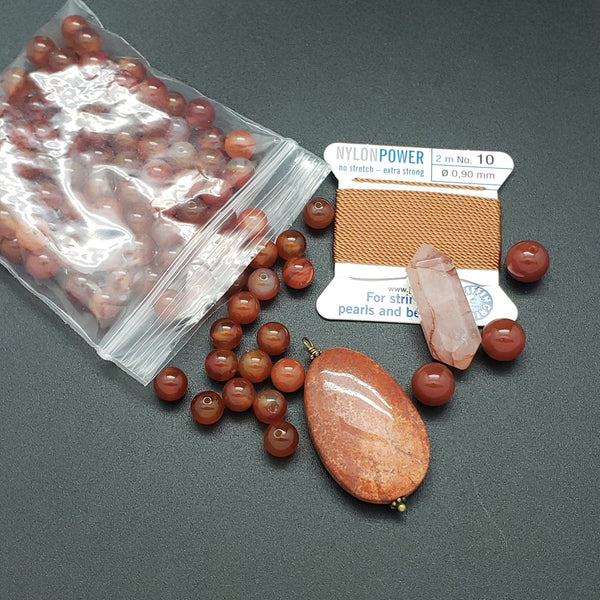 Mala Bead Kit: Carnelian and Fossil Agate