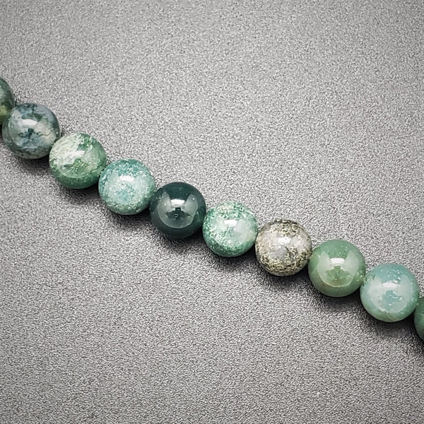 Moss Agate Round Beads - 8mm