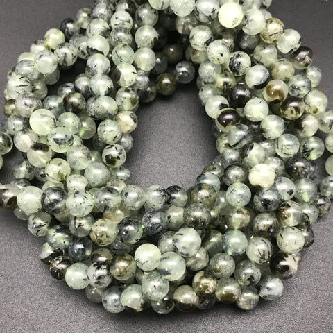 Tourmalinated Prehnite 8mm Round Beads