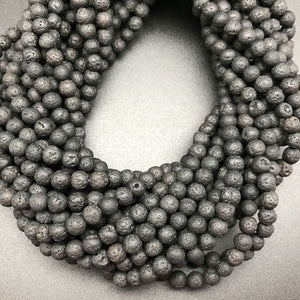 Black Lava 6mm Round Beads