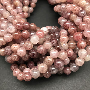 Strawberry Quartz Round Beads - 8mm