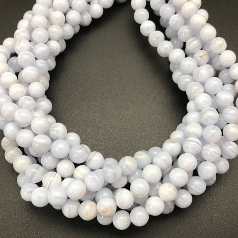 Blue Lace Agate 8mm Round Beads