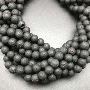 Black Lava 8mm Round Beads