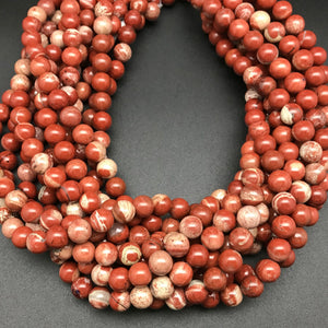 White Lace Red Jasper 8mm Round Beads