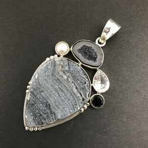 Druzy & Sterling Monochrome Collage Pendant