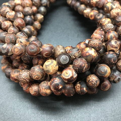 Batik Agate Brown Round Beads - 8mm