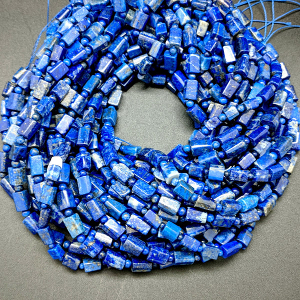 Lapis Tube Beads - 10mm x 6mm