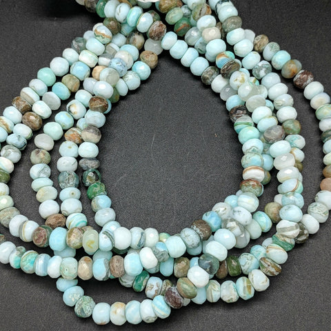Peruvian Blue Opal Rondelle 8mm Beads