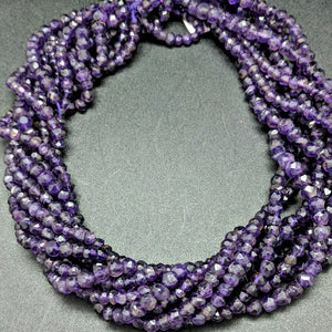 Amethyst Diamond Cut Rondelle 3mm Beads