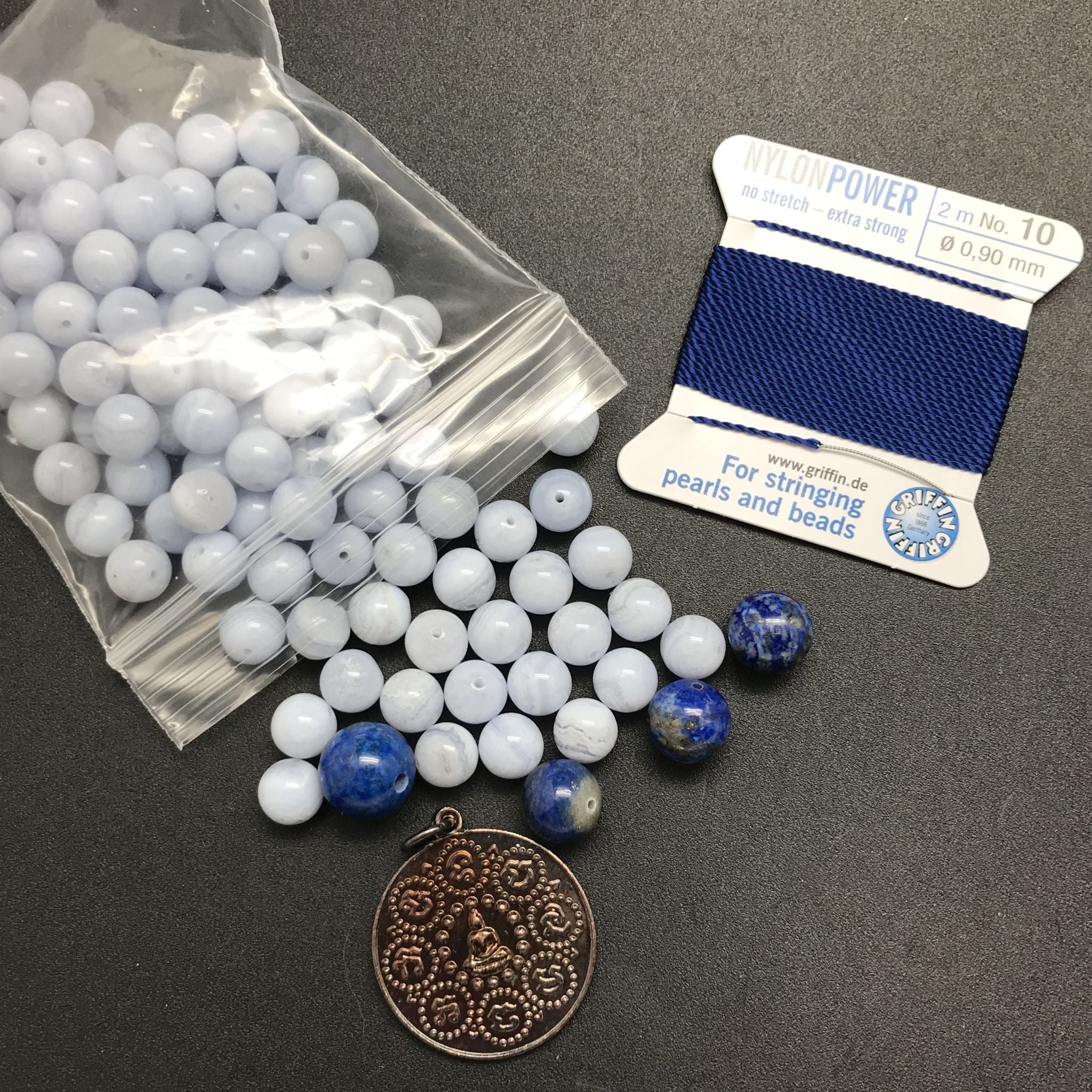 Mala Bead Kit: Blue Lace Agate and Lapis