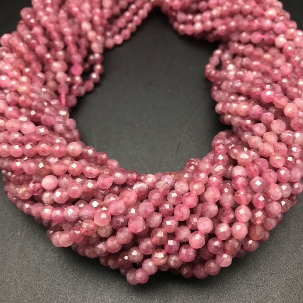 Pink Ruby Faceted 4mm Beads