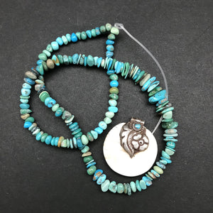 Treasure Box: Tibetan Conch Shell Pendant & Turquoise