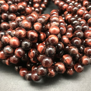 Tiger Eye Red Round Beads - 8mm