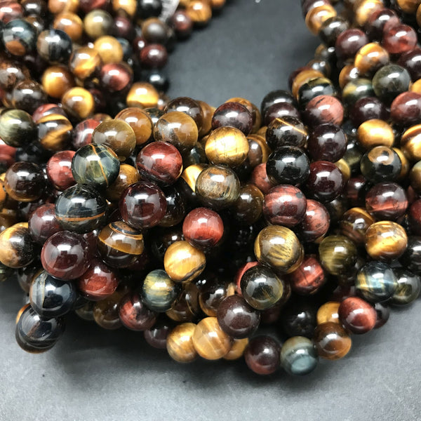 Tiger Eye Red, Blue, Gold Round Beads - 8mm