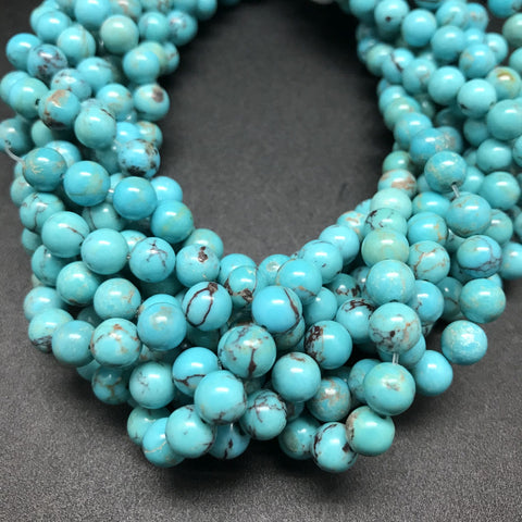 Turquoise, Blue with Matrix, 6mm Round
